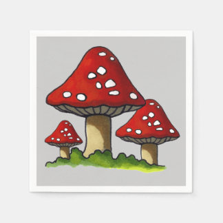 Three Toadstools, Original Illustration Paper Serviettes
