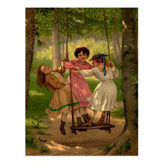 Three Tomboys Vintage Illustration Postcard