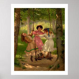 Three Tomboys Vintage Illustration Poster