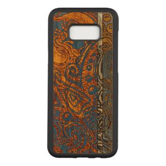 Three Tone Blue Jean Swirl Cherry Hardwood Carved Samsung Galaxy S8+ Case