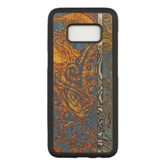 Three Tone Blue Jean Swirl Maple Hardwood Carved Samsung Galaxy S8 Case