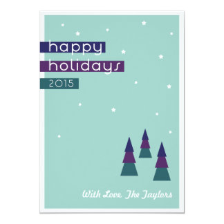 Three Triangle Trees- Happy Holiday Card 13 Cm X 18 Cm Invitation Card