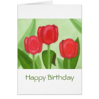Three Tulips Birthday Card