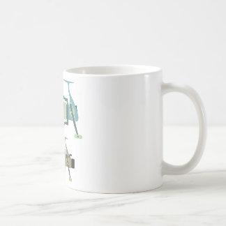 Three types of spinning reels vector illustration coffee mug
