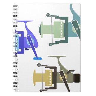 Three types of spinning reels vector illustration notebooks