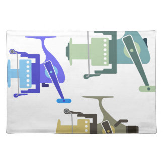 Three types of spinning reels vector illustration placemat