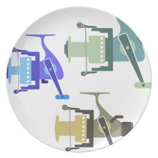 Three types of spinning reels vector illustration plate