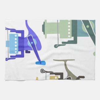 Three types of spinning reels vector illustration tea towel