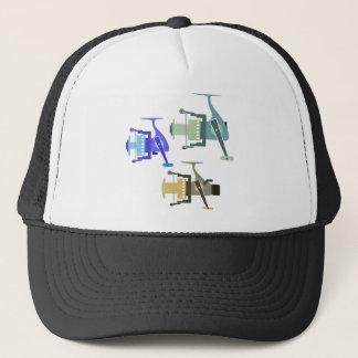 Three types of spinning reels vector illustration trucker hat