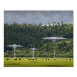 Three UFO's with Field of Cows Poster
