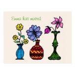 Three Vases Art Moving Woman Address Announcement Postcard