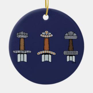 Three Viking Sword Hilts Ceramic Ornament