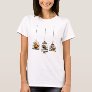 Three Vintage Birdcages With Colorful Birds T-Shirt