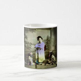 Three Vintage Geisha in Old Japan Hand Colored Coffee Mug