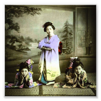 Three Vintage Geisha in Old Japan Hand Colored Photo Print