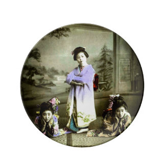 Three Vintage Geisha in Old Japan Hand Colored Plate