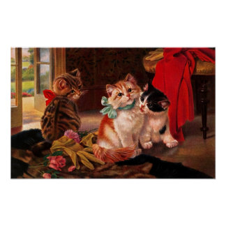 Three Vintage Kitten Poster