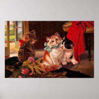 Three Vintage Kitten Poster