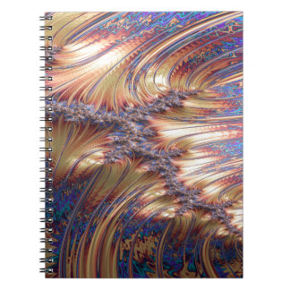 Three-way reflective sunset fractal design spiral notebook