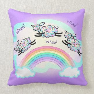 Three Whee Sheep Jumping a Rainbow Cute Silly Art Cushion