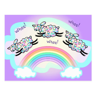 Three Whee Sheep Leaping a Rainbow Silly Happy Postcard
