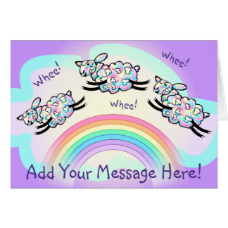 Three Whee Sheep Leaping Rainbow Add Your Message Card