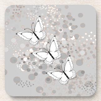 Three White Butterflies Coasters