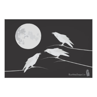 Three white crows and the Moon Poster