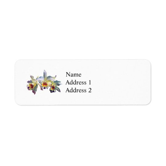 Three White Orchids Return Address Label