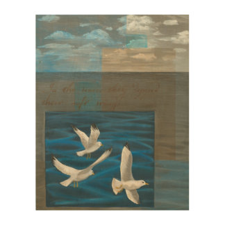 Three White Seagulls Flying Over the Water Wood Wall Art