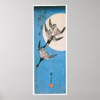 Three Wild Geese Flying, by Utagawa Hiroshige Poster