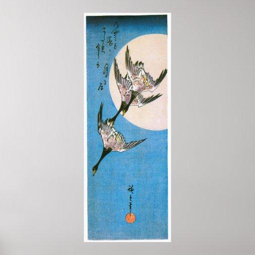 Three Wild Geese Flying, by Utagawa Hiroshige Print