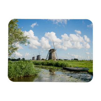 Three windmills and a canal rectangular magnet