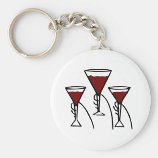 Three Wine Glasses in Hands Cartoon Key Ring