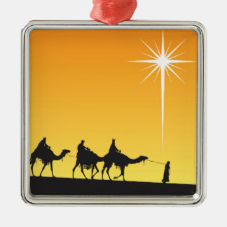 Three Wise Men Following the Star Metal Ornament