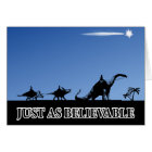 Three wise men on dinosaurs card