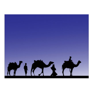 Three Wise Men on their journey with their camels Postcard