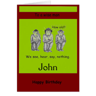 Three Wise, Modern, Monkeys Birthday cards
