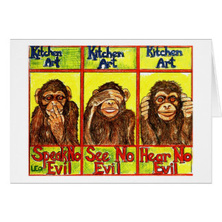 Three Wise Monkeys Card