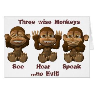 three wise monkeys greeting cards