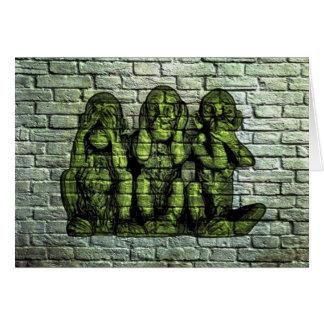 Three Wise Monkeys Graffiti Greeting Card