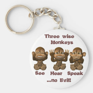 three wise monkeys key ring