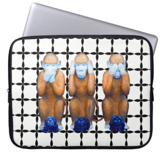 Three wise monkeys laptop sleeve