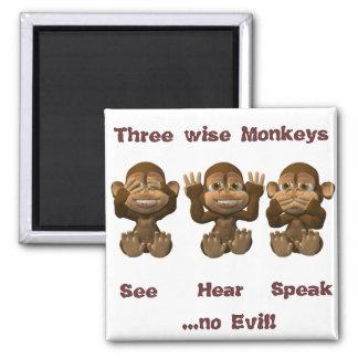 three wise monkeys fridge magnet