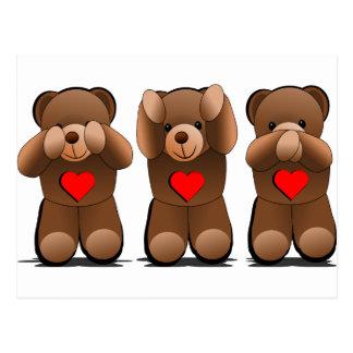 Three Wise Monkeys, Teddy Bear Print Postcard