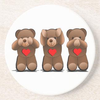 Three Wise Monkeys, Teddy Bear Print Sandstone Coaster