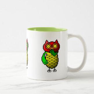Three wise owls, hear, see & speak no evil Two-Tone coffee mug