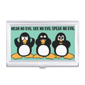 Three Wise Penguins Design Graphic Business Card Holder