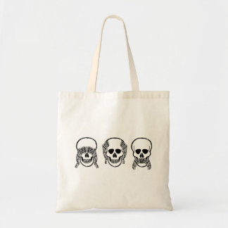Three wise skulls, see, hear, speak no evil, funny tote bag