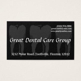 Three Wise Teeth Black Dentist Business Card